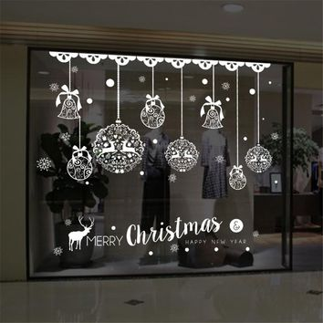 Christmas Wall Sticker Home Decor Store Window Decoration Hanging Jingle Bell Snowflake Reindeer papel de parede