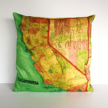 CALIFORNIA vintage map organic cotton cushion by mybeardedpigeon
