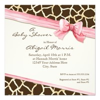 Giraffe Skin Pattern Ribbon n Bow Baby Girl Invite