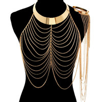 Gold DRAPE ARM CUFF BODY CHAIN Statement Layered Metal
