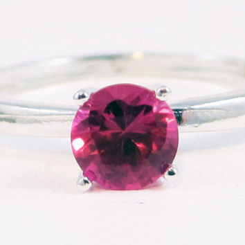 Pink Sapphire 4 Prong Solitaire Gemstone Sterling Silver Ring
