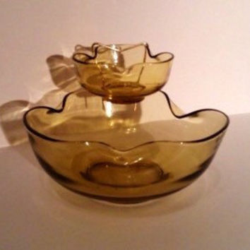 Chip & Dip Bowl Set by Anchor Hocking Excellent Vintage Quality
