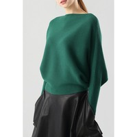Ribbed Batwing Sleeve Boat Neck Sweater - Deep Green One Size
