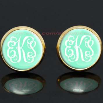 Monogram mint green gold plated stud post earrings,girlfriend gift Bridesmaid Gift