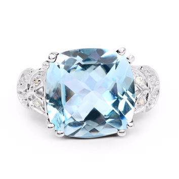 A Vintage 7CT Cushion Cut Genuine Blue Topaz and White Diamond Engagement Ring