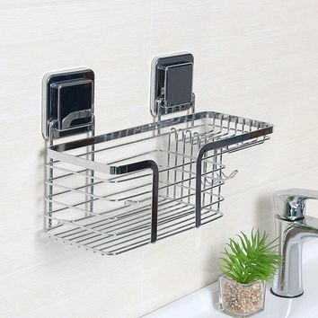 Stainless Steel Bathroom Shower Sink Soap Dish Holder Basket Shelves with Soap Dishes Hooks for Bathroom Accessories