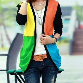 Multi-color Retro V-Neck Long Sleeve Cardigan