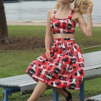 Trixie Skirt in Mid Century BBQ print