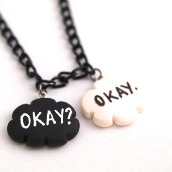 The Fault in Our Stars Inspired Necklace, Okay? Okay. Necklace, Miniature OKAY Jewelry in Fimo Polymer Clay, John Green Okay, TFIOS