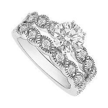 Diamond Engagement Ring with Wedding Band Set : 14K White Gold - 0.50 CT Diamonds