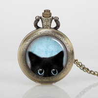 Antique Glass Pocket Watch Necklace Inspiration Black cat peeking face , Antique Bronzen locket , Personalized Gift , four kinds of style