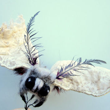 Moth sculpture, fiber art, needle felted hand embroidered, scrappy unique moth, posable wings, one of a kind creepy cute, curio collectible