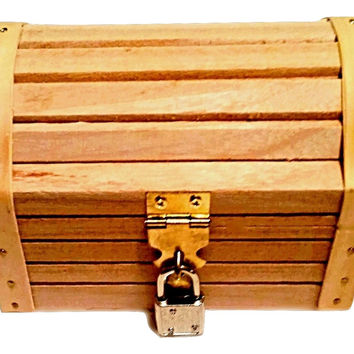 """Wooden Treasure Chest 5.12"""" X 3.54"""" X 3.54"""" With A Working Lock And A Pair Of Keys, Great For Kids To Explore Their ENDLESS Imagination"""
