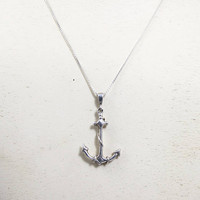 """Sterling Silver Anchor Necklace Pendant, Nautical Mariners Cross Sailor's Anchor Jewelry,Unisex Men Women Nautical Jewelry Italian 24"""" Chain"""