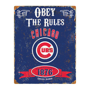 Chicago Cubs MLB Vintage Metal Sign (11.5in x 14.5in)