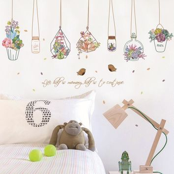 pendent flower pots wall stickers home window wall party diy decor artificial flower bonsai self adhesive plants vinyl decals