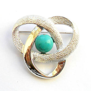 Vintage Sarah Coventry Orbit Brooch Silver Turquoise Cabochon Knot 1970 Space Abstract Atomic Style Teal Blue