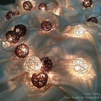 Brown Dark Brown and White Rattan Ball String Lights For Wedding and House decoration (20 Flowers/Set)