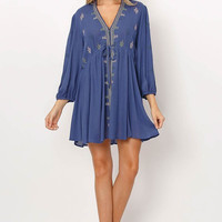 Embroidery Drawstring Babydoll Dress