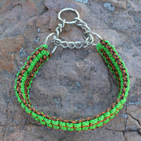 Martingale collar, green, brown and black paracord collar, 15.5 inches for a medium to large dog