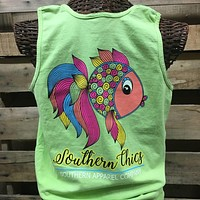 Southern Chics Preppy Fish Comfort Colors Bright Tank Top Shirt