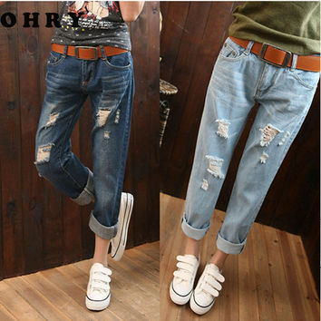 Large Size 6XL Women High Waist Jeans White Ripped Jeans For Women 5XL Boyfriend Jeans For Women American Apparel Jeans Femme