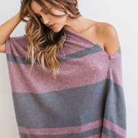 27 Miles || Chumash Cashmere striped poncho in steel/berry