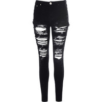 Black Heavily Ripped Jeans