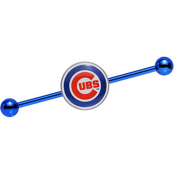 Licensed MLB Blue Anodized Chicago Cubs Industrial Barbell 38mm