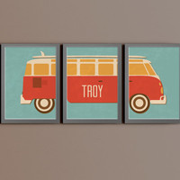 Custom Home Decor- Vintage Van with Personalized Name Nursery/Kid Wall Art