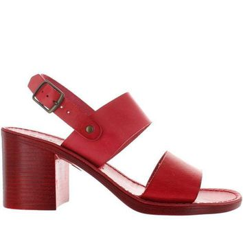 Seychelles State Of Mind   Red Leather Wide Band Sandal
