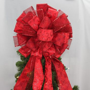 Dark Red Sparkle Christmas Tree Topper Bow