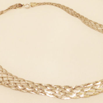 Vintage Sterling Silver Woven Chain Necklace
