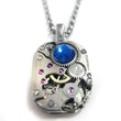 Supermarket: Square Steampunk Watch Gear Pendant Necklace with Blue Swarovski Crystals from Avant Garde Design