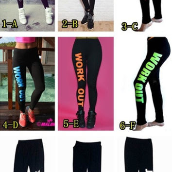 leggings co-New Women leggings Clothing fashion letters work out gun leggings Sexy Slim Sportswear gym sport = 1932930052