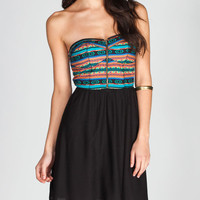 Fire Ethnic Zip Tube Dress Black Combo  In Sizes