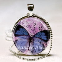 Beautiful Purple Butterfly (NR) Glass Bezel Pendant - Charm --- FREE Chain or Key Ring