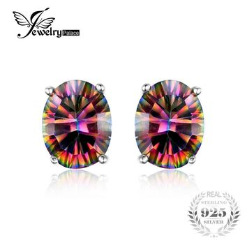 Women  Solid 925 Sterling Silver Fire Rainbow Mystic Topaz Studs