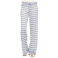Stripe Print Casual Lounge Pants in Heather Grey