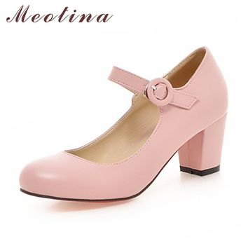 Meotina Women Shoes Mary Jane Ladies High Heels White Wedding Shoes Spring Thick Heel Pumps Shoes Black Pink Plus Size 43 9 10