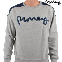 MONEY CLOTHINGSHOULDER PANEL CREWNECK SWEATSHIRT - GREY
