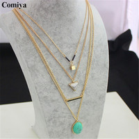 Comiya Aliexpress brand Turquoise Marbled Stone  pendant necklaces for women multi layer necklace gold accessories bijoux femme