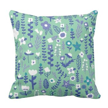 Doodle Flowers Pattern - Navy Blue Throw Pillow
