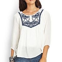 LOVE 21 Embroidered Woven Peasant Top Cream/Navy