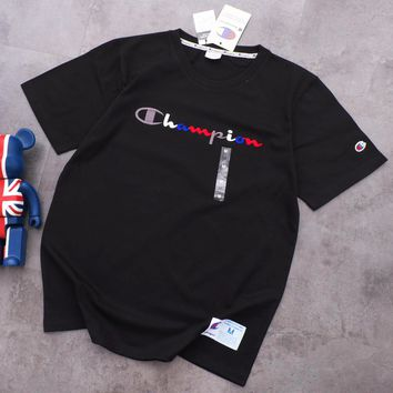 Champion New fashion bust embroidery letter couple top t-shirt Black