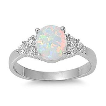 Sterling Silver Round 8MM White Lab Opal Ring