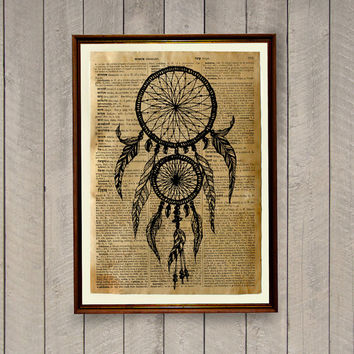 Tribal print Dreamcatcher poster Native American decor