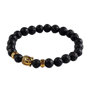 Black Lava Stone Buddha Beads Bracelets Rope Chain Natural Stone Bracelets For Women/ Men Jewelry