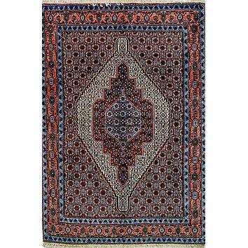 Oriental Senneh Persian Tribal Rug, Brown/Orange