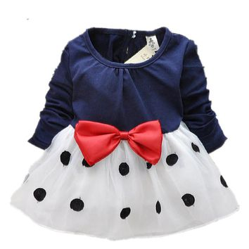 New Cute Baby Girls Dress Cotton Lace Mini Ball Grown Dresses Kids Clothes 0-2 Years Baby girl clothes Bowknot Polk dot dress